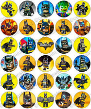 30 x Batman Movie Party Collection Edible Rice Wafer Paper Cupcake Toppers