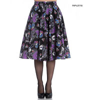 Hell Bunny 50s Black Purple Gothic Skirt GRACIELA Muertos Skeletons All Sizes