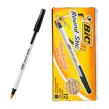 BIC Round Stic 1.0 mm med/moy ball point pen 1 BOX 12 PCS - BLACK