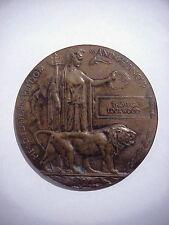 WWI British UK MEMORIAL DEATH PLAQUE Table Medal THOMAS LOCKWOOD