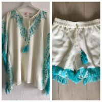 XS/S CREAM/TURQUOISE TASSEL SHORTS & TOP SET CELEB/GLAM/PRETTY/TOWIE/FESTIVAL