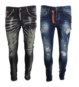New Mens Paint Splatter Stretch Patchwork Distressed Ripped Jeans Denim Jeans UK