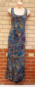 PERUVIAN CONNECTION BLUE MULTI COLOUR SPOTTED PIMA COTTON LONG MAXI DRESS 14