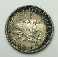 Dated : 1916 - Silver Coin - France - 1 Franc - One Franc Coin