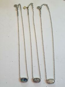 Lot Of 3 NWOT Kendra Scott Silver Necklaces With Glass And Gemstones
