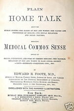 PLAIN HOME TALK EMBRACING MEDICAL COMMON SENSE by Foote 1888  RB47 Book