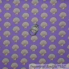 BonEful Fabric Cotton Quilt Purple Cream Sea*Shell Dot Pearl Calico Stripe SCRAP