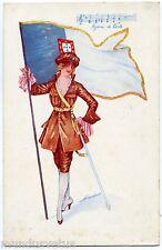 WW1 . XAVIER SAGER. LES HYMNES NATIONAUX . CORTA. Femme soldat. patriotic charm