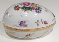 Ceramic Easter Egg White Covered Trinket Box FLOWERS GOLD GILT EDGE TRIM Vintage