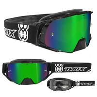 TWO-X Rocket Crossbrille Motocross Cross Enduro Brille schwarz verspiegelt grün