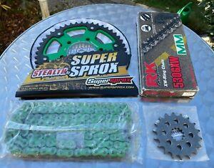 Supersprox Kit de Cadena Kawasaki ZX-12R,ZX-12,18-46-116,RK530GXW,Verde,Verde