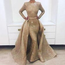 Mermaid Luxury Evening Dress Long Sleeves Glitter with Train Prom Formal Dress