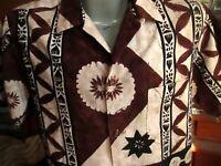 MEDIUM True Vtg 60s HOALOHA BARKCLOTH BROWN Hawaiian Shirt Hawaii