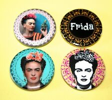 SET OF 4 FRIDA KAHLO DOILEY LACE INSPIRED BUTTON PIN BADGE