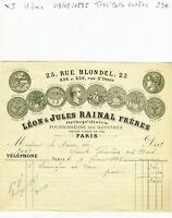 Paris II ème 23 Rue Blondel - Très Belle Entête Secteur de la Médecine de 1895
