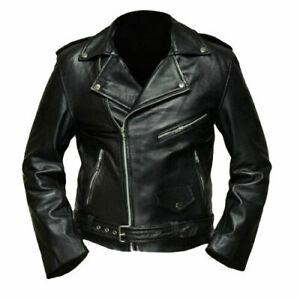 Winter sale 50%Off Terminator 2 Arnold Schwarzenegger Black Biker Leather Jacket