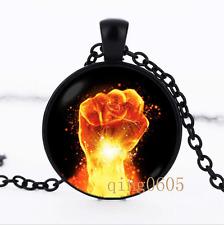 Fist necklace Fist Men photo Glass Dome black Chain Pendant Necklace wholesale
