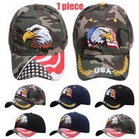 Adjustable Baseball Cap Men's USA Eagle Flag Embroidery Snapback Trucker Hat