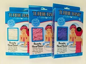 Turbie Band Twist Softer Feel Beauty Head Band, Lot of 3 - Blue, Pink and White
