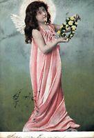 Angel - Vintage Postcard With Flower necklace 03.45