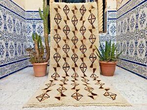 "Vintage Moroccan Rug Old Kilim Handmade Azilal Rug Wool Tribal Berber 6'1"" x2'3"""