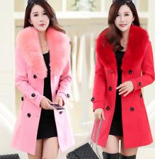 new Women's Slim Winter Warm Coat Long Wool Jacket Fur Collar Outwear With Belt