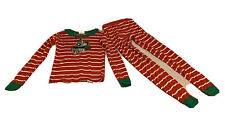 Hanna Andersson Sz 140- 10 Red Stripes Train Print Snug Fit Pjs Pajamas