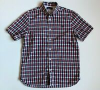 Mens Fred Perry Casual Shirt Cotton Checked Short Sleeve Size M