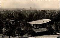 Karlsruhe alte Ansichtskarte 1954 Blick auf die Schwarzwald Halle Grünanlage