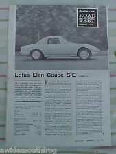 Lotus Elan Coupe Special Equipment Factory Reprinted Road Test