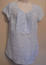 Crew Clothing UK10 EU38 US6 white and blue floral cap sleeved lace trim top