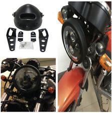 "Durable Black 5.75"" Headlight Lamp Shell Bucket Housing Mount Bracket for Harley"