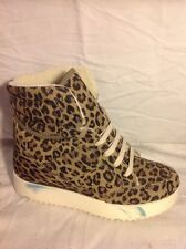 River Island Brown Ankle Animal Print Leather Boots Size 4