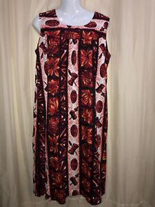 Ui-Maikai Ladies MuuMuu Dress Hawaiian Pineapples Drums Tiki Masks Vtg Aloha 12