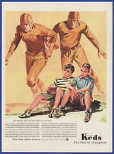 Vintage 1941 KEDS Shoes Sports Football Champion Shoe Sneakers Print Ad 40's