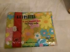 NEW Vintage NOS Flower Power Floral Twin Flat Sheet 60's Neon Colors Sealed
