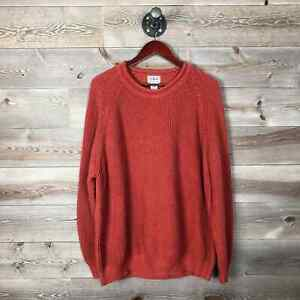 LL Bean Men's XL Roll Neck 100% Cotton Sweater Orange Heavyweight Rugged