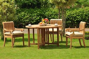 """Giva Grade-A Teak 4 Pc Dining 48"""" Round Table 3 Arm Chair Set Outdoor New"""
