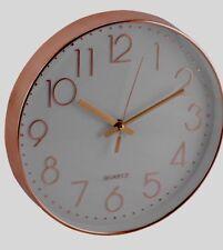 Reloj De Pared efecto De Oro Rosa De Cobre Blanco Cara Redonda Cocina