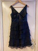 Monsoon Black Dress, Party Cocktail, Wedding, UK 10 Ladies Chiffon & Silk