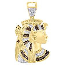 10K Yellow Gold Egyptian Queen Nefertiti Mens Red Diamond Pendant Charm 0.50 Ct.