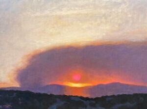 Fire Mountain West Southwest Impressionism Art Oil Painting Landscape Smoke Sun