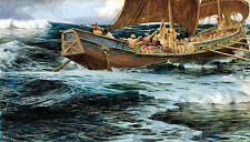 Oil painting Herbert James Draper - Seascape Wrath of the Sea God & huge waves