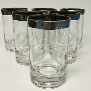 6 Vintage Silver Rimmed Trim Glasses Mid-Century Modern Barware 5 Ounce Shooter