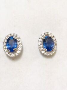 Rarities SS Blue Sapphire and Zircon Stud Earrings
