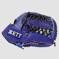 """ZETT 12.5"""" Baseball Gloves Mitts Outfield Leather Right Hand RHT T Web Blue"""
