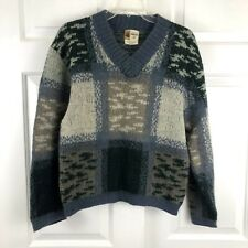 Vintage Penneys Towncraft Union Label Chunky V-Neck Wool Sweater Blue Medium