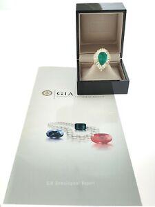 BVLGARI Box + 5.97ct Green Emerald Pear Shape Diamond 18K Yellow Gold + GIA