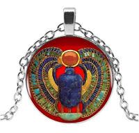 Collier Pendentif scarabée égypte Pharaon Symbole sacré, chaine acier.