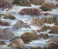 Wind and Waves ocean rocks shore water Wilmington fabric